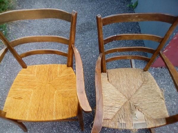 Rempaillage de chaise de qualité et a bon prix par votre artisan rempailleur (avant > après)