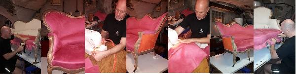 Création sur un Canapé 3 places louis Philippe à bosse d'une ligne contemporaine avec éclaircissement des bois et pose de tissus type suédine Anti-Tache en thème bicolore opposé.