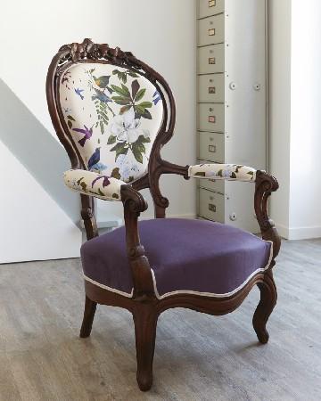Réfection complète. Fauteuil Louis Philippe, Atelier Compas. Tapissier Nîmes Montpellier